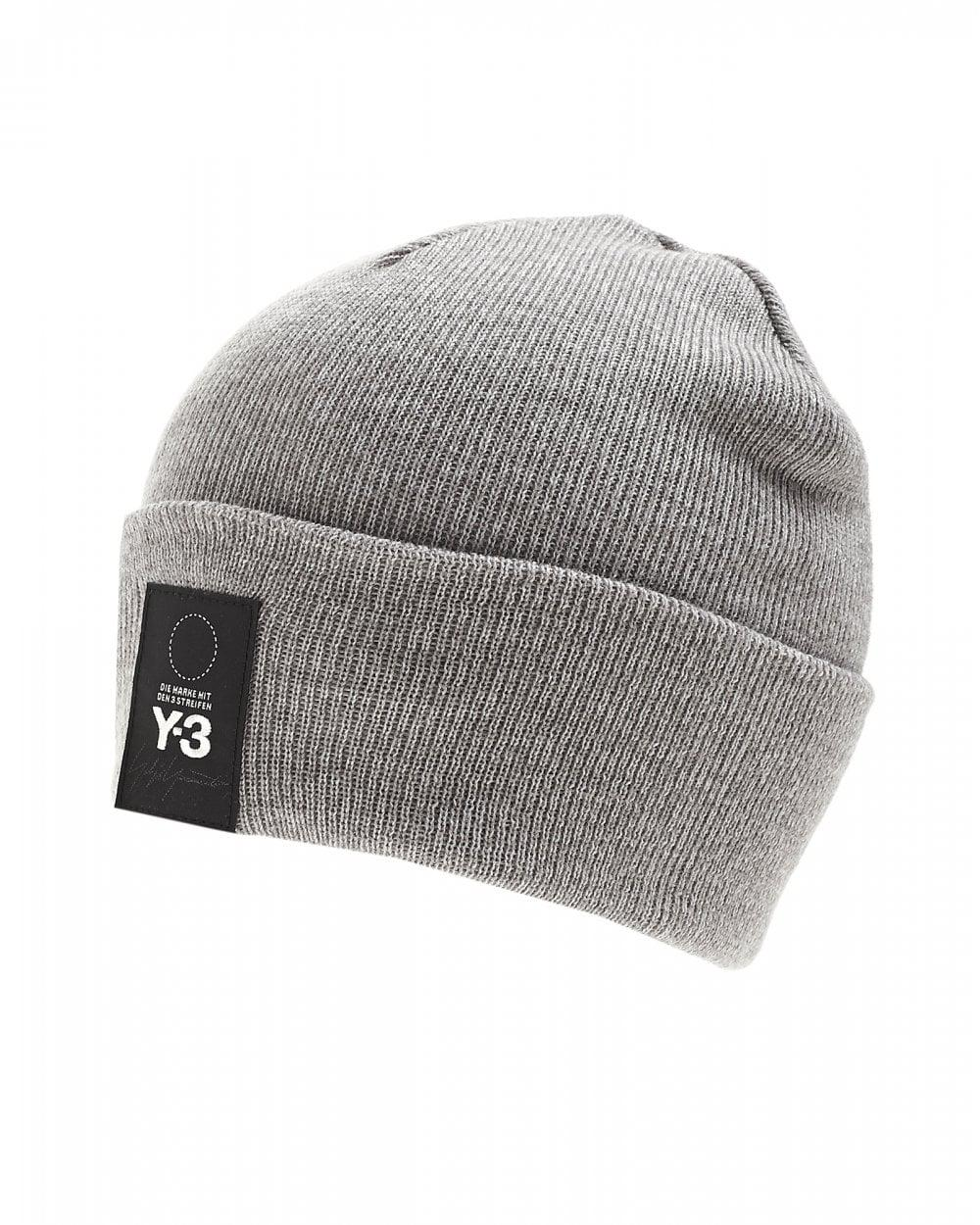 a24faedf4 Men's Patch Logo Beanie, Gray Ribbed Hat