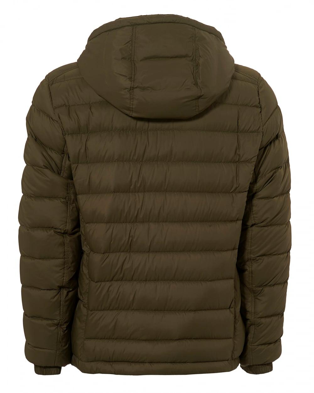 BOSS Obaron Puffa Jacket, Water Repellent Olive Green Coat ...