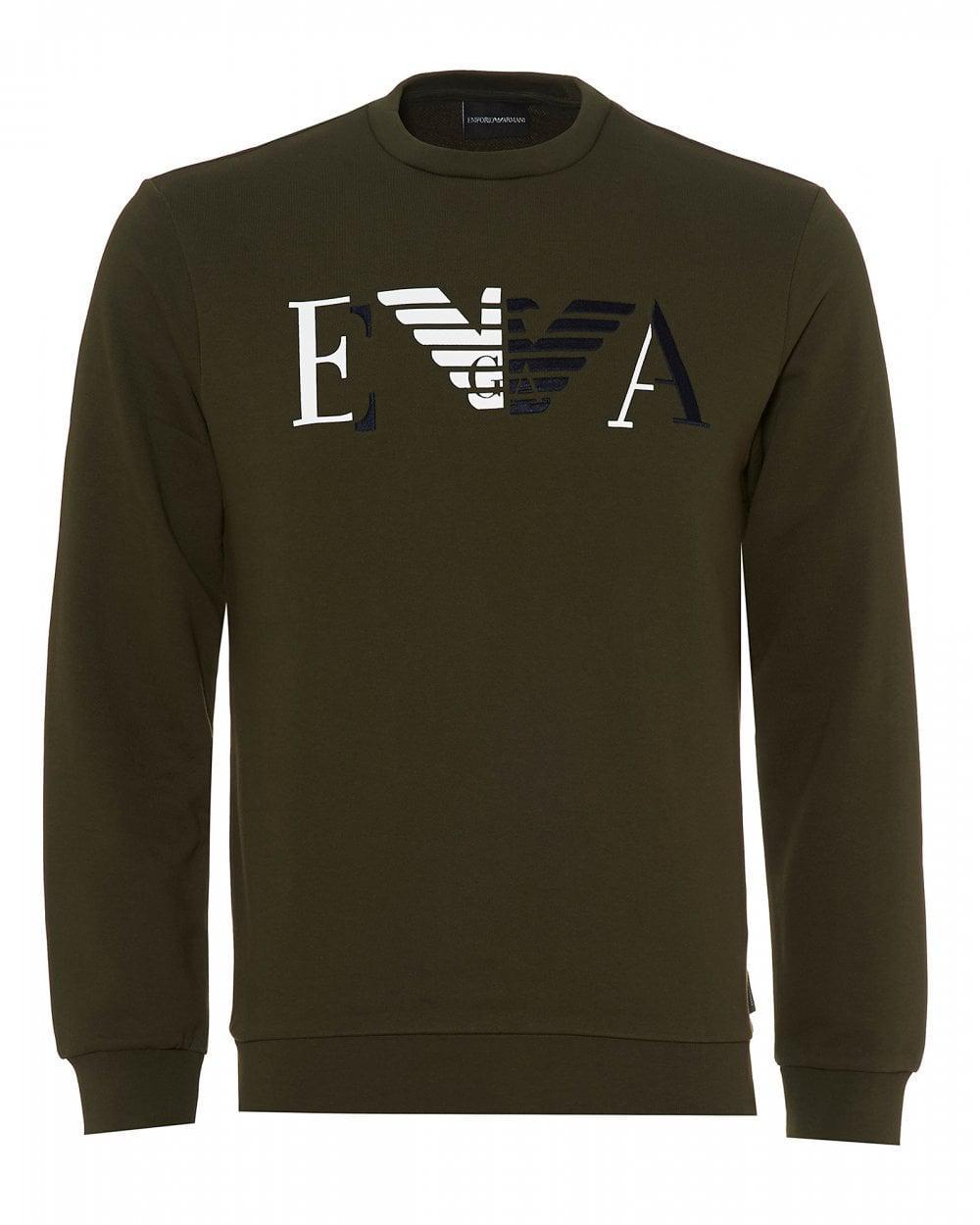 Emporio Armani Two Tone Logo Sweatshirt, Olive Green Sweat in Green ... 915a70de80