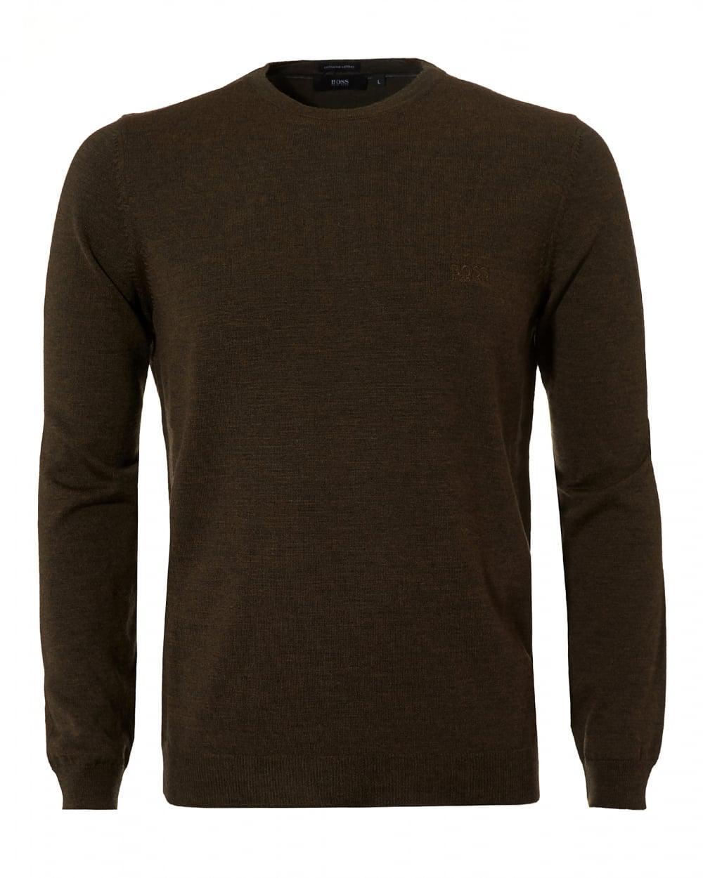 Boss black Botto-l Jumper, Merino Wool Dark Olive Sweater in Green ...