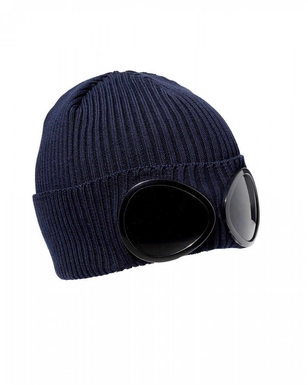 2e452a31b2f C P Company Ribbed Wool Goggle Beanie Navy in Blue for Men - Save 48 ...