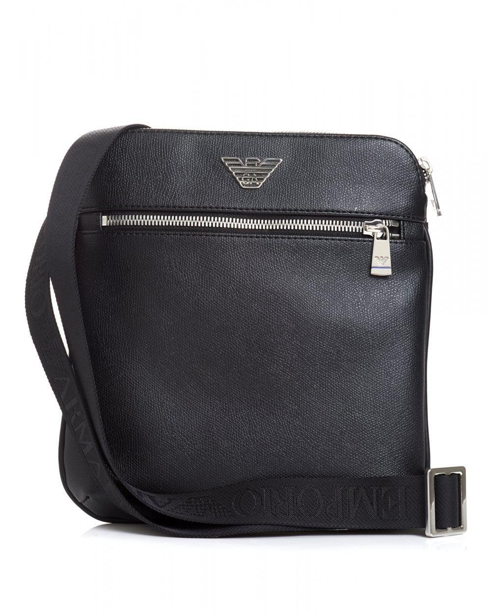 59380b38f1e Emporio Armani Silver Eagle Logo Black Crossbody Stash Bag in Black ...