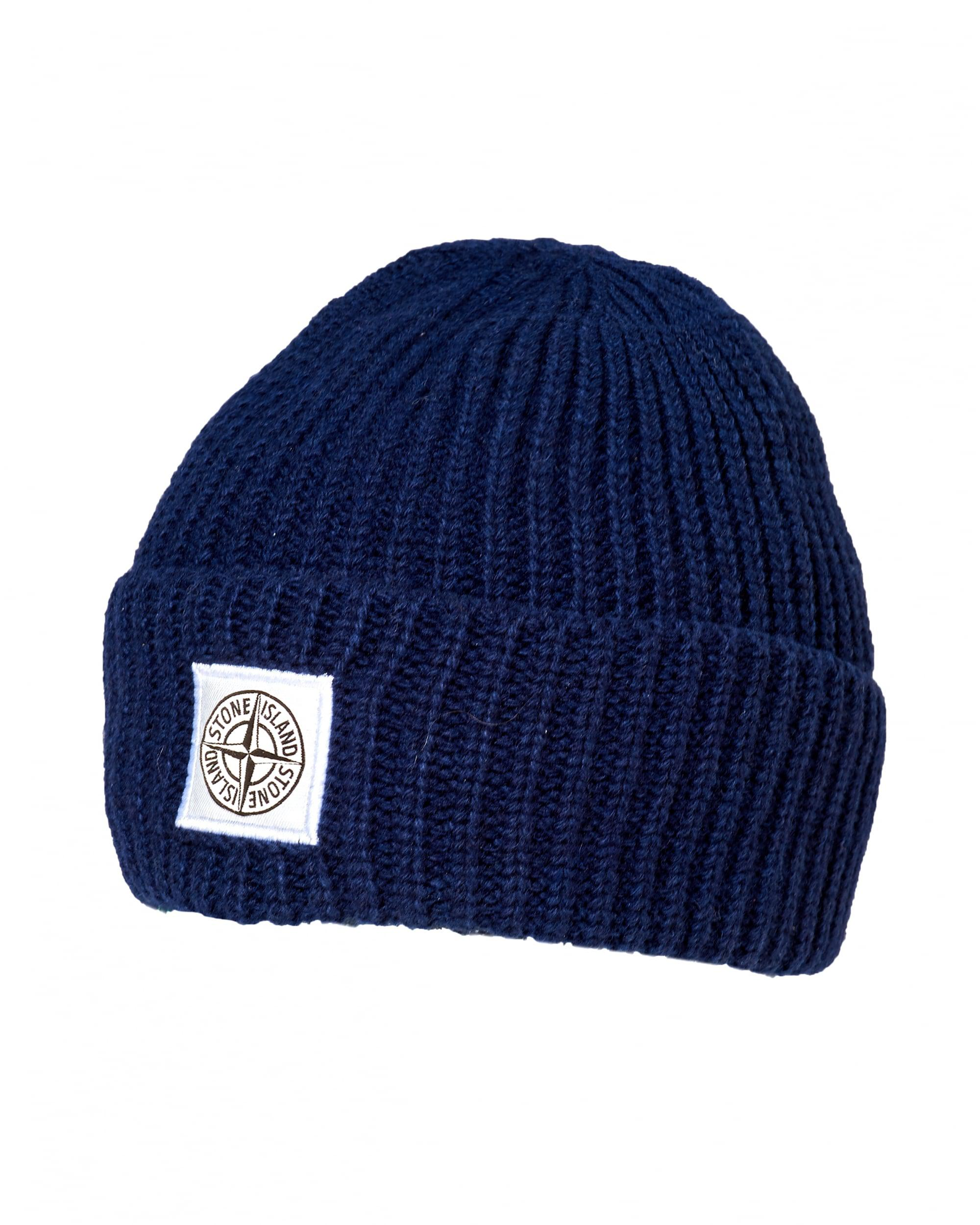5c87b54d7 Stone Island Ribbed Beanie, Patch Logo Blue Marine Hat for Men - Lyst