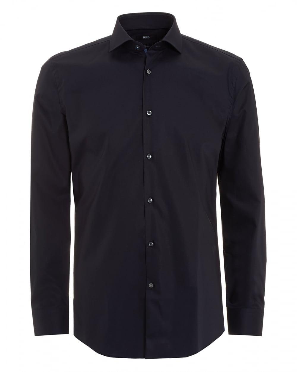 Lyst boss black jerrin shirt slim fit plain navy blue for Navy slim fit shirt