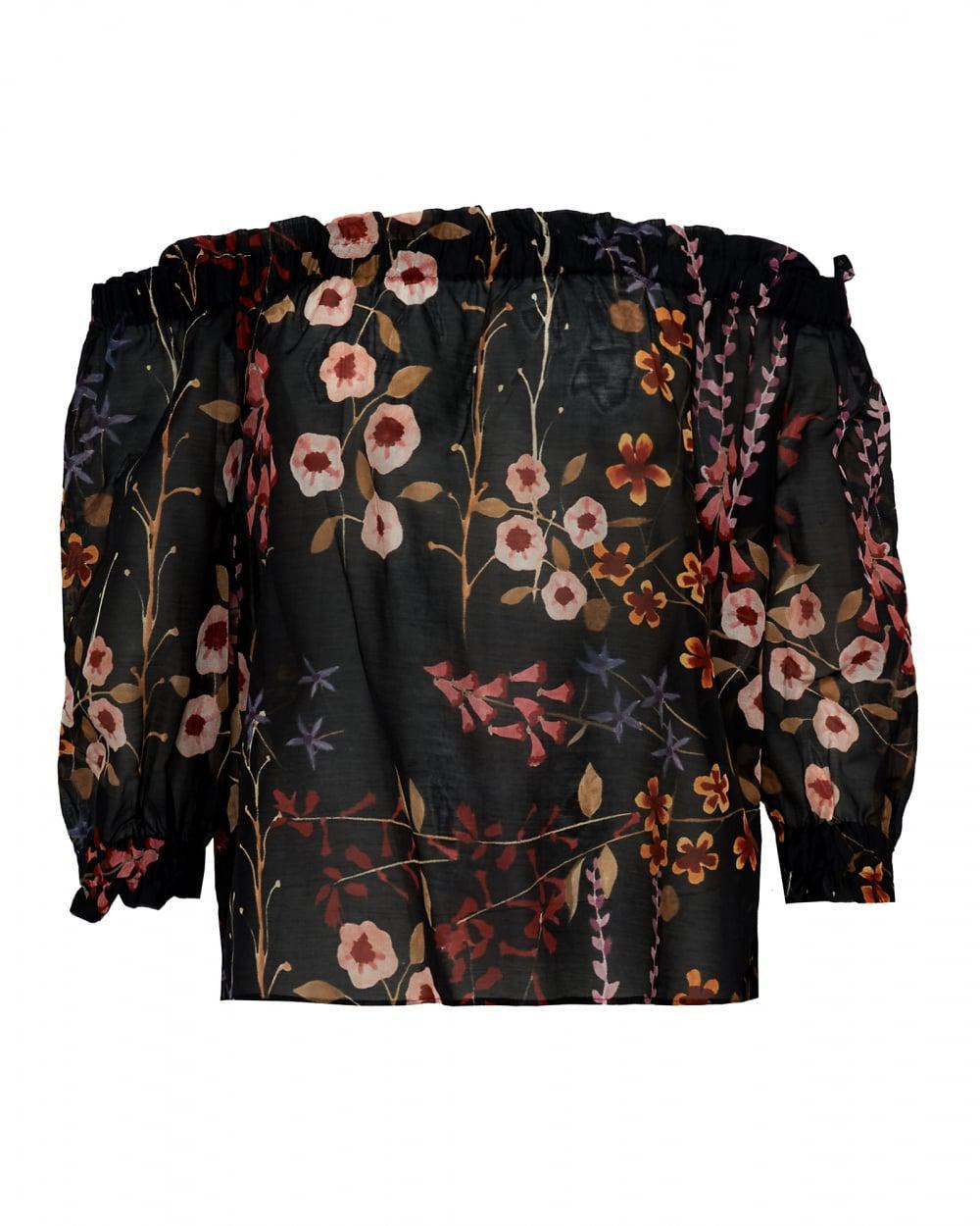 Lyst - Emporio Armani Off Shoulder Bardot Top, Sheer Floral Black ... 8925bf204c3