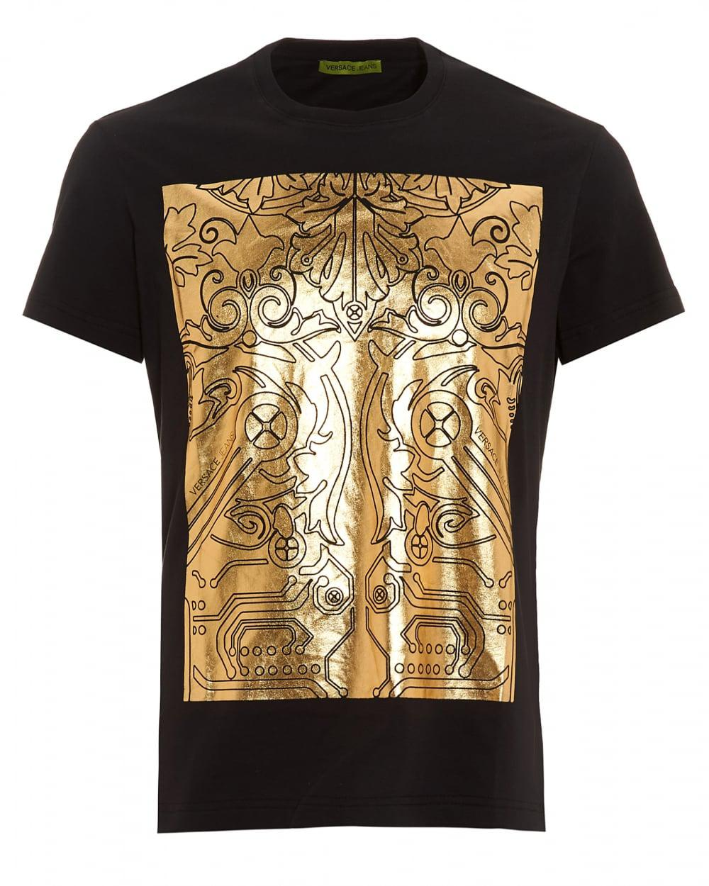 lyst versace jeans black t shirt regular fit gold foil digital baroque tee in black for men. Black Bedroom Furniture Sets. Home Design Ideas