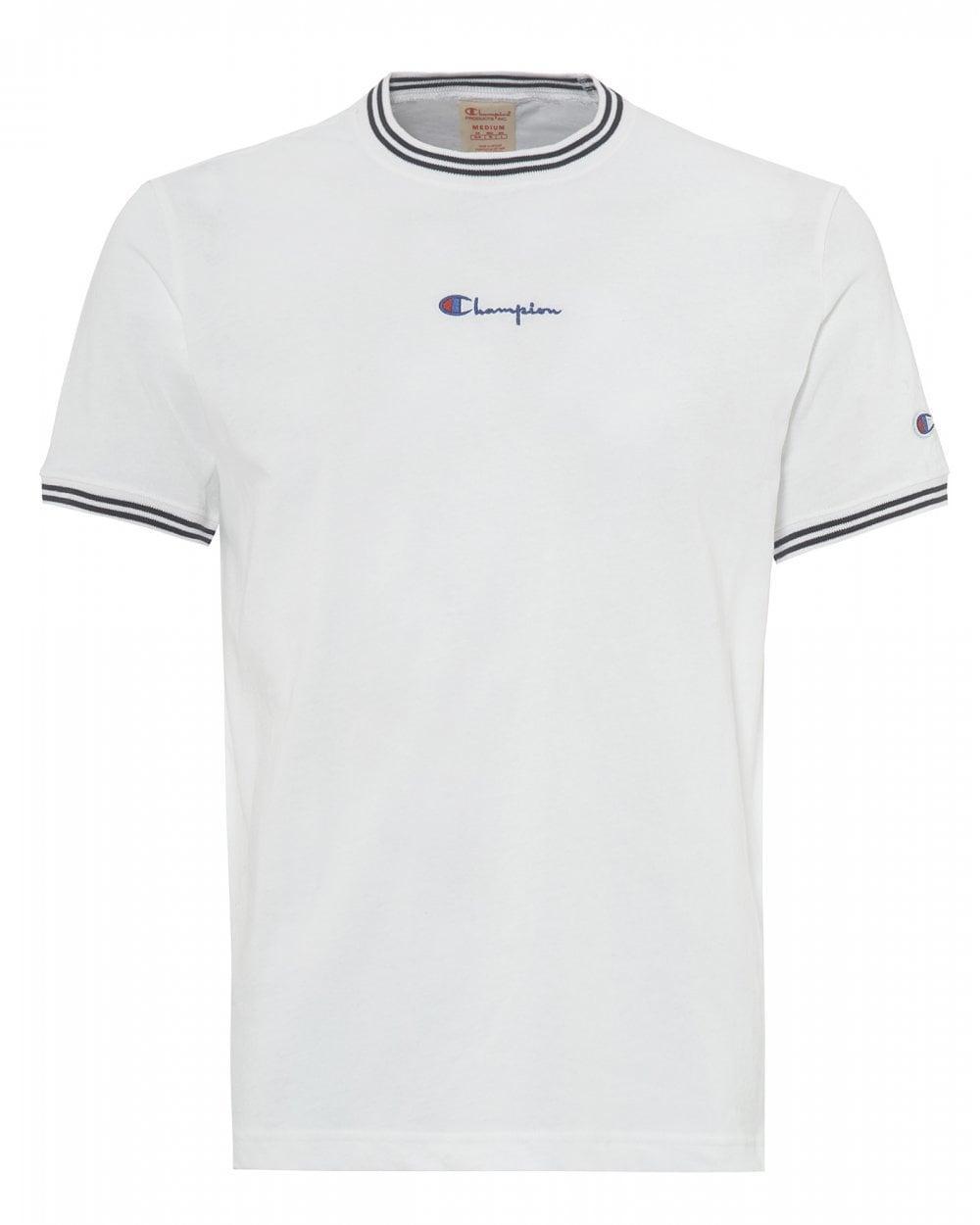 aac5643e4 Lyst - Champion White Striped Ringer Script Tee, Small Logo T-shirt ...