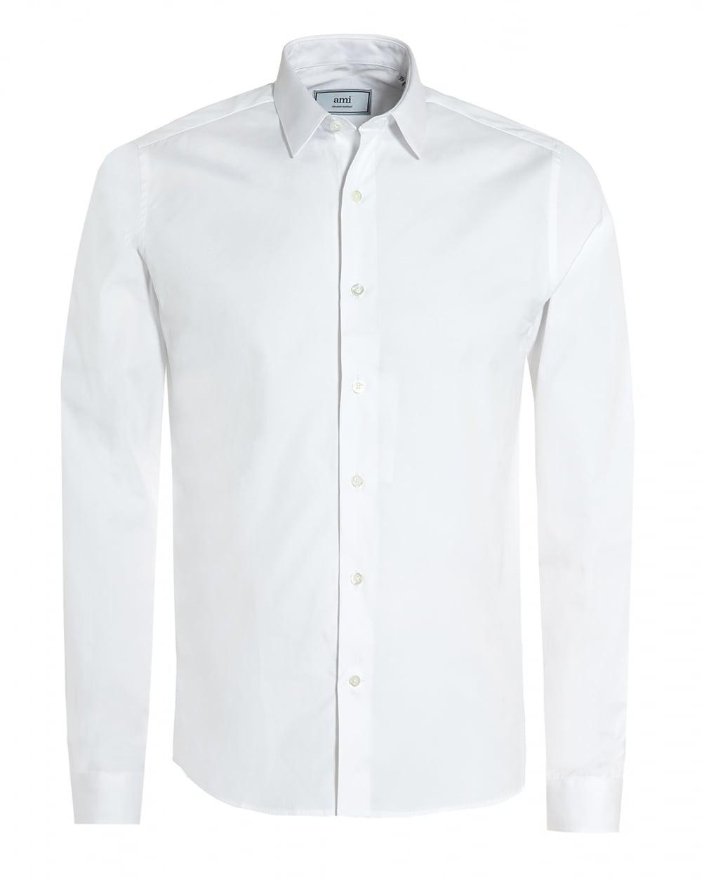 Ami plain white shirt regular fit poplin formal shirt in for Boys white formal shirt