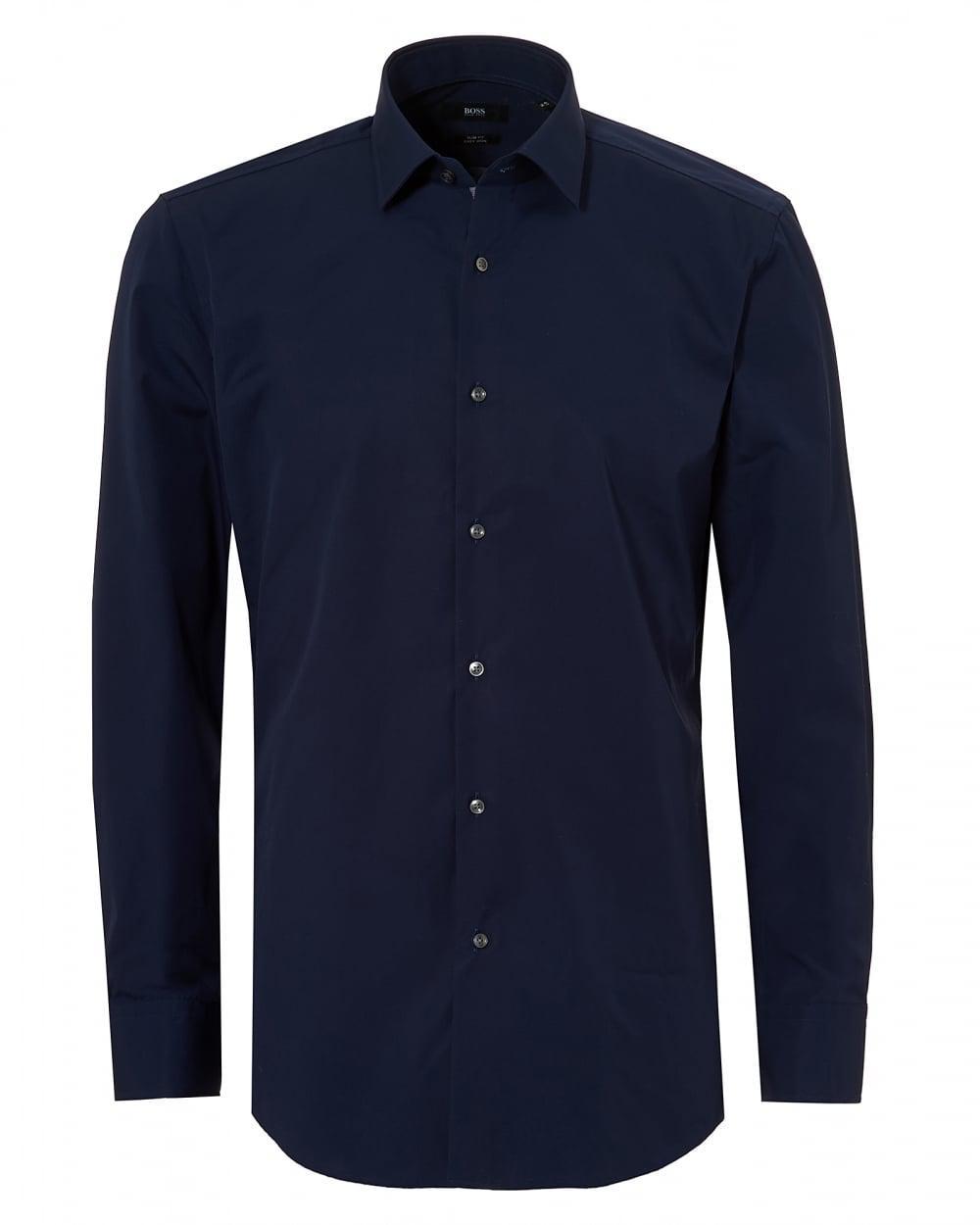 Lyst boss black navy blue jerris slim fit inner trim for Navy slim fit shirt