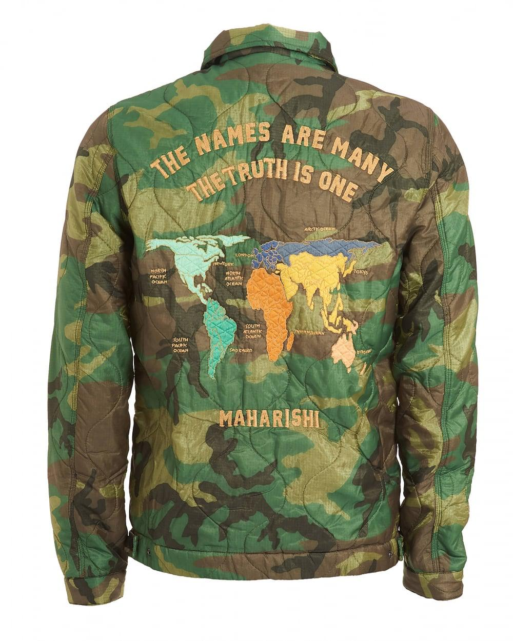 World Map Jacket, Vintage Military Surplus Woodland Green Coat