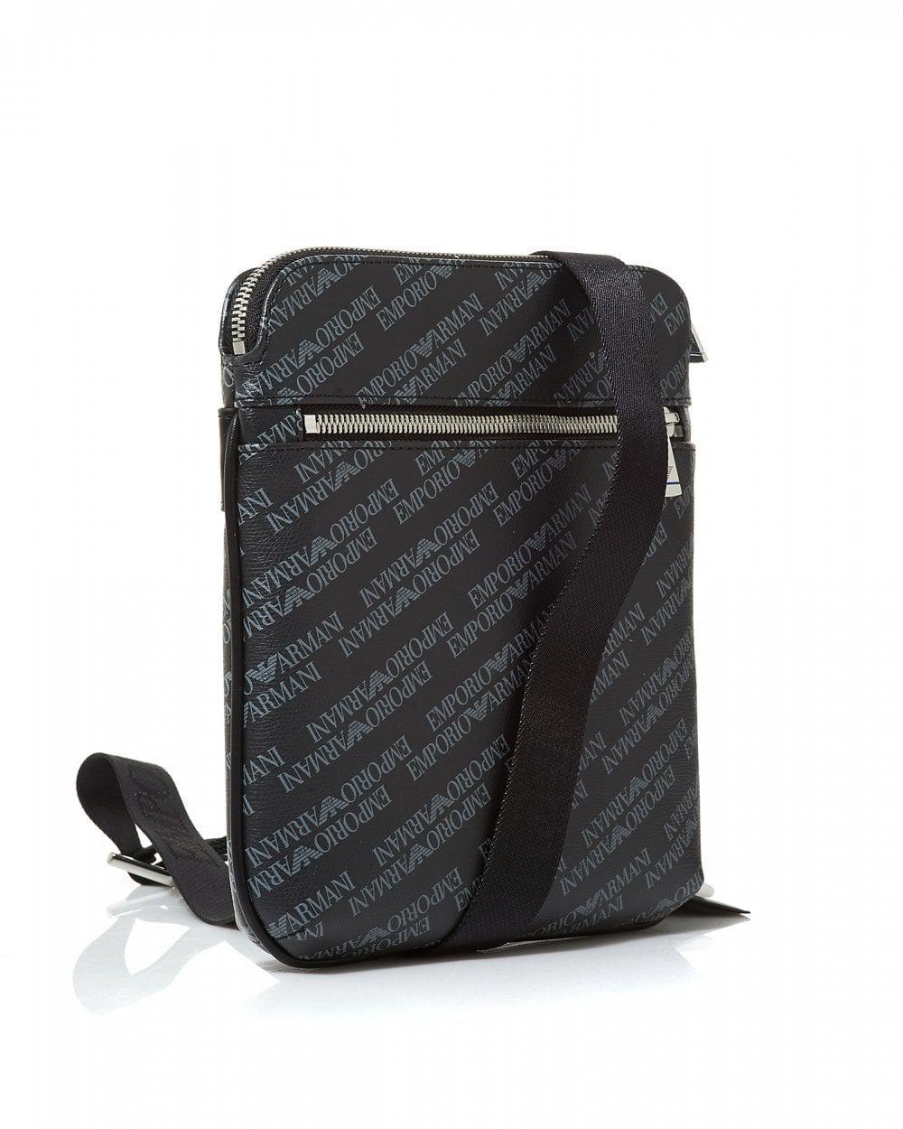 Emporio Armani All Over Logo Black Crossbody Stash Bag in Black for Men -  Lyst d1f8f7ca407ab