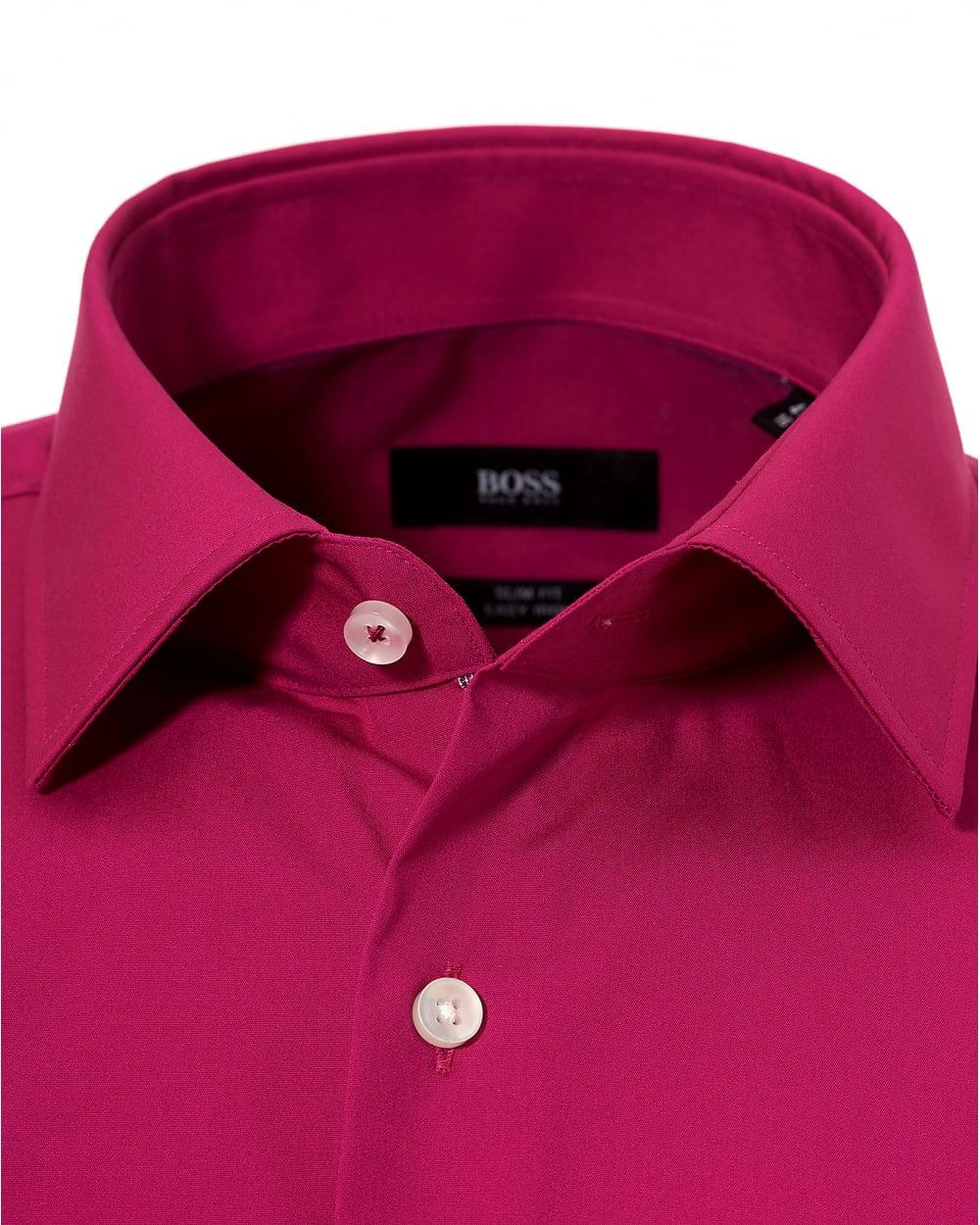Lyst Boss Black Fuchsia Pink Jerris Slim Fit Inner Trim Shirt In