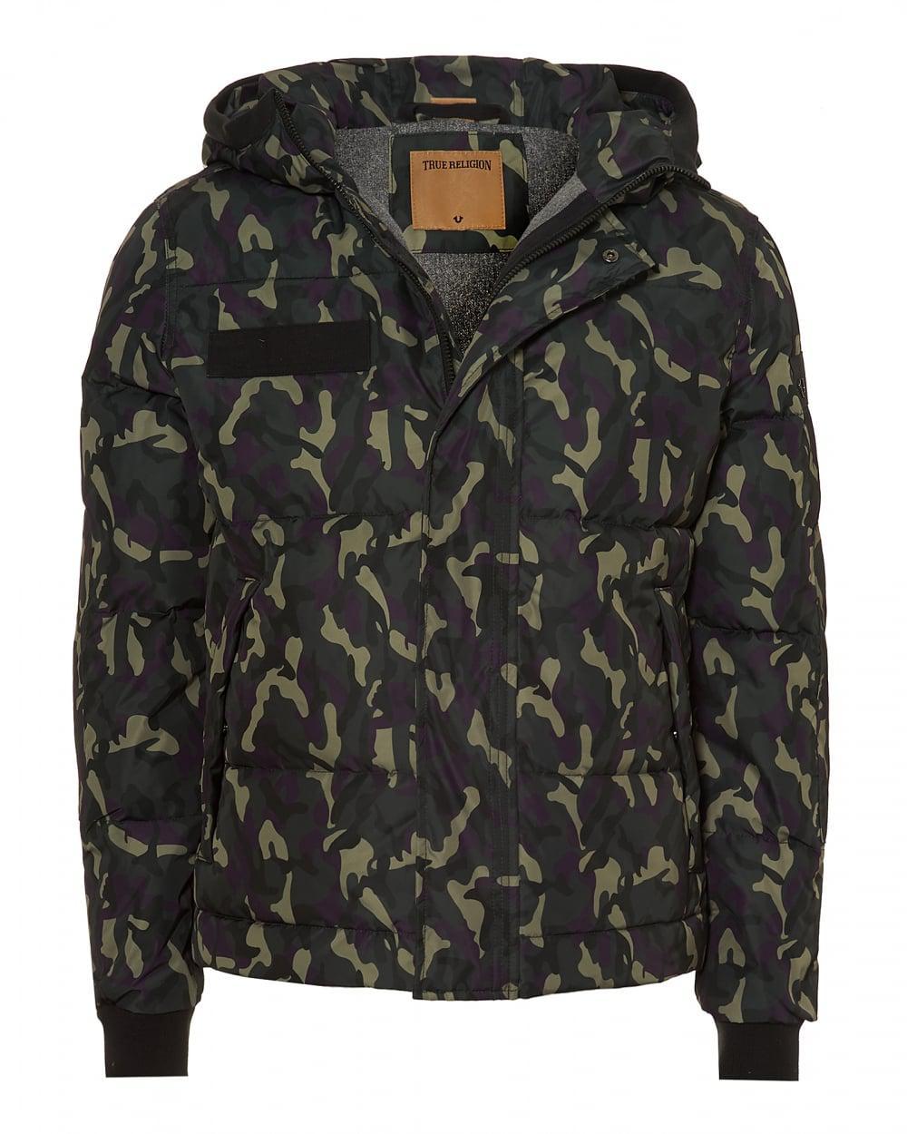 true religion hooded jacket down filled camo coat for men lyst. Black Bedroom Furniture Sets. Home Design Ideas