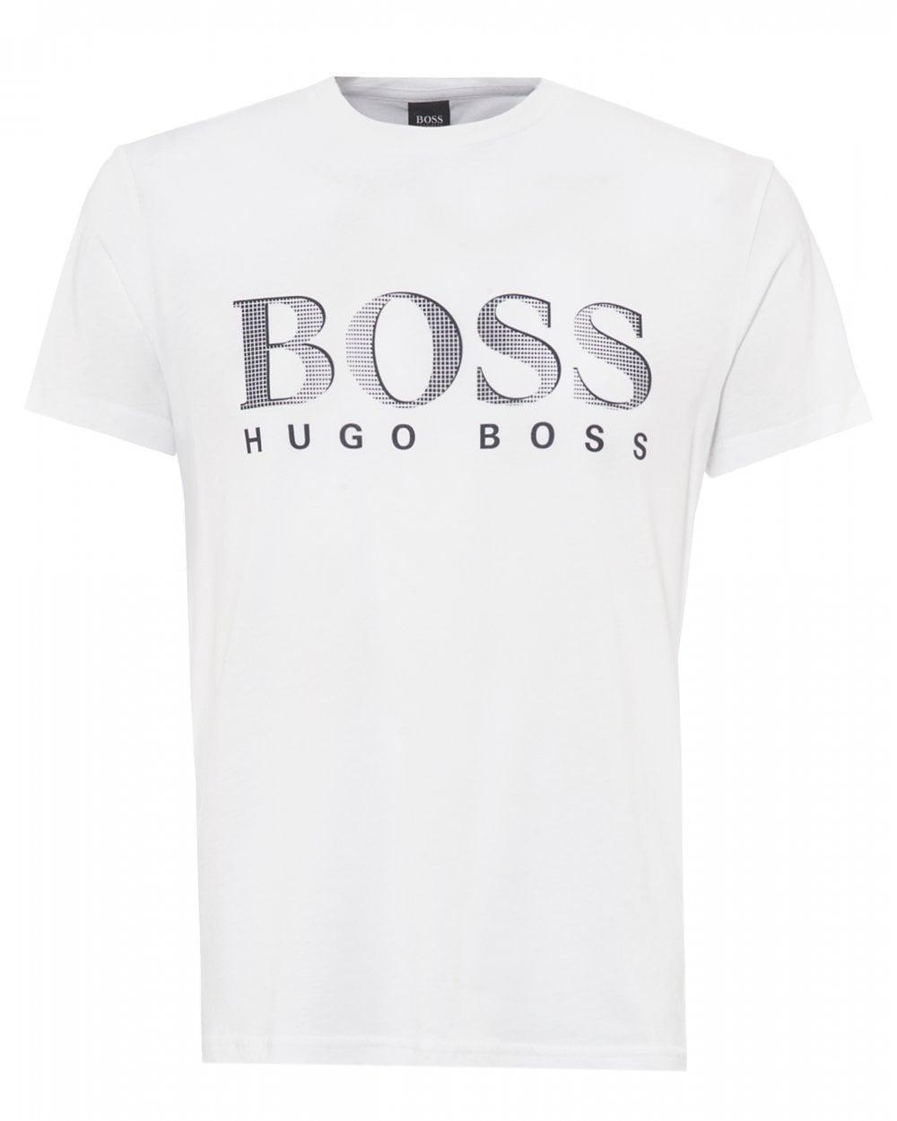 ee9d627d Lyst - BOSS White Uv Logo T-shirt, Relaxed Fit Upf 50+ Tee in White ...