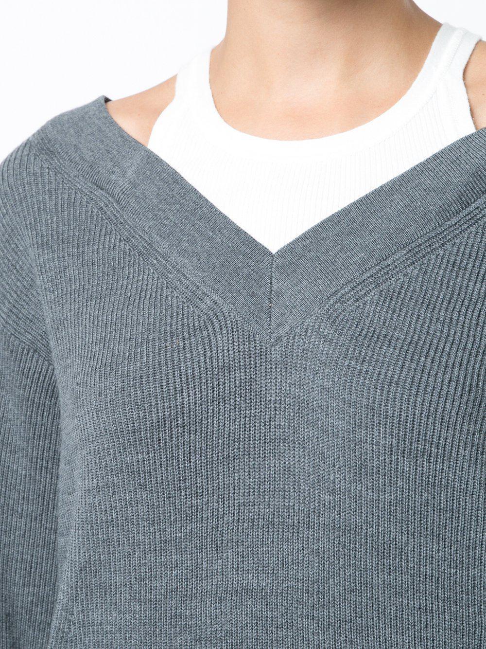 d4bf6d8ee003 Lyst - T By Alexander Wang Bi-layer Off Shoulder W inner Tank Sweater