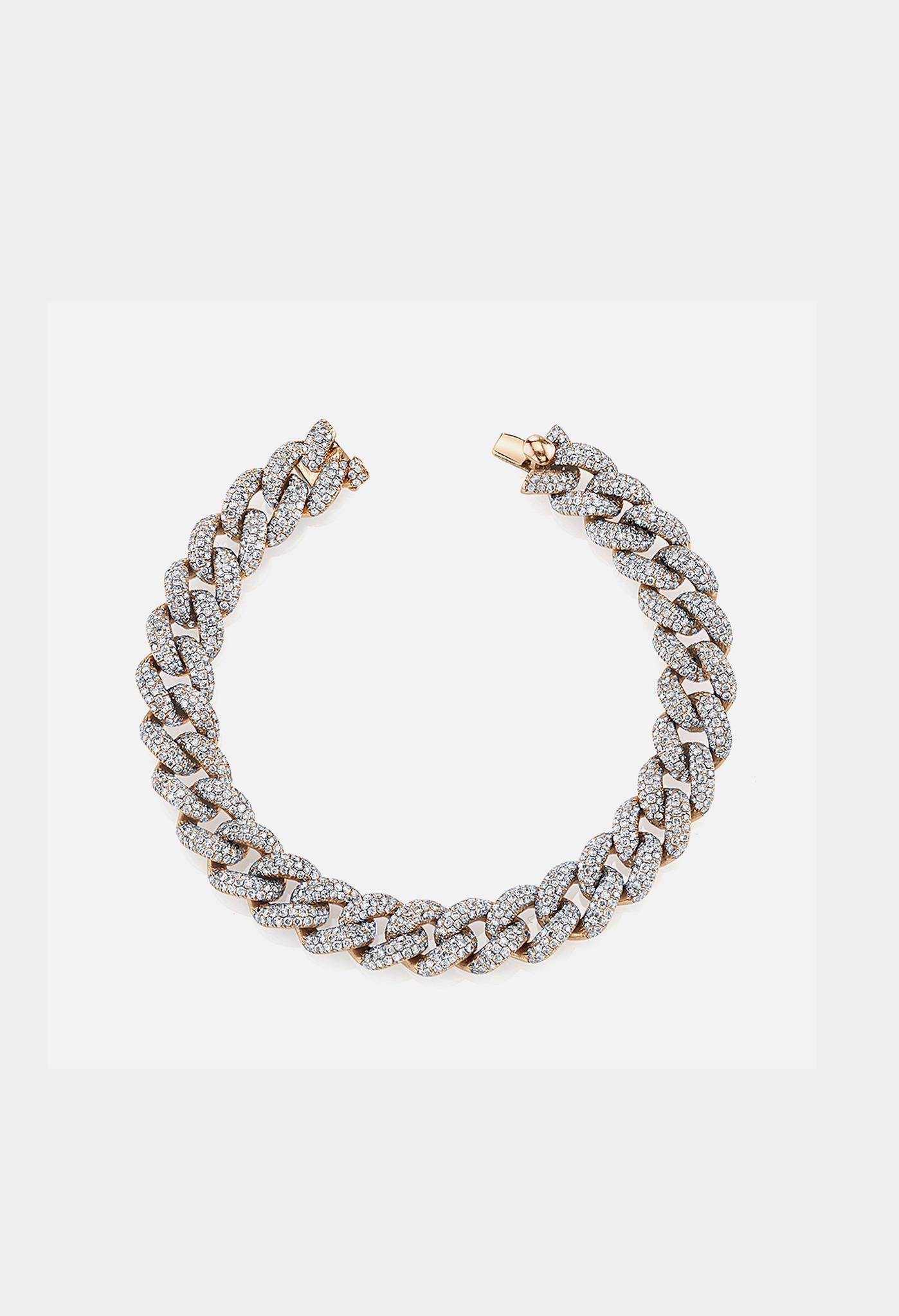 shay pave essential link bracelet in gold in
