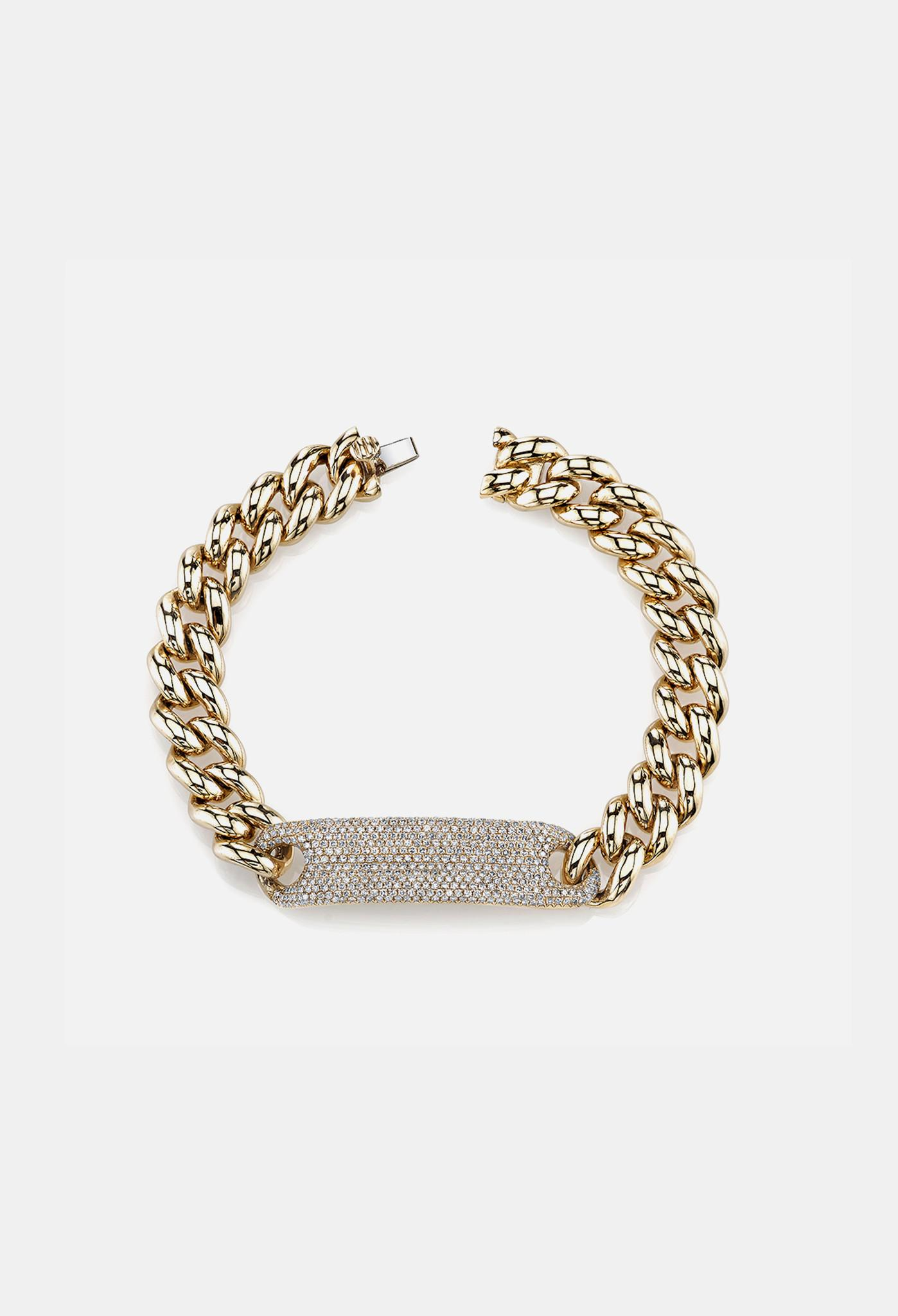 shay essential pave id link bracelet in yellow gold in