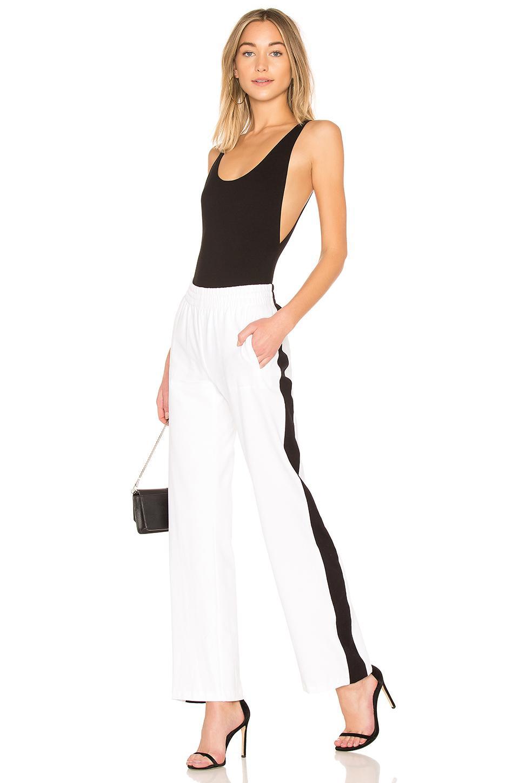 Norma Kamali Side Stripe Sweatpant in White