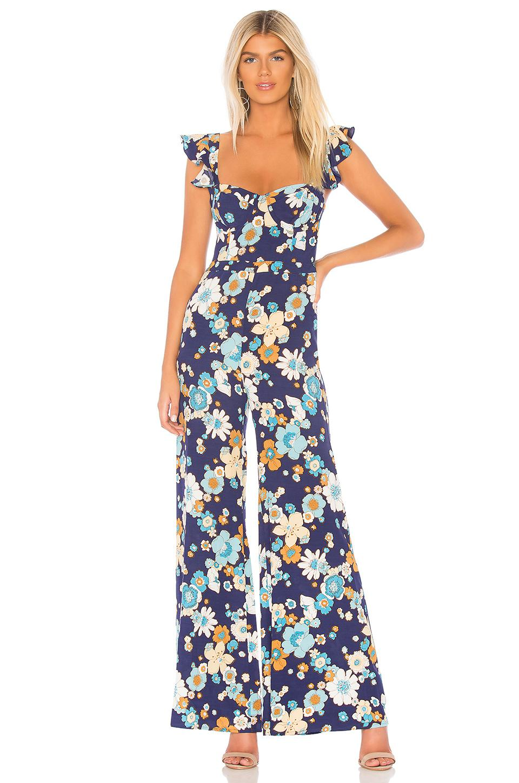 For Love Lemons Magnolia Ruffled Jumpsuit In Blue In Blue Lyst
