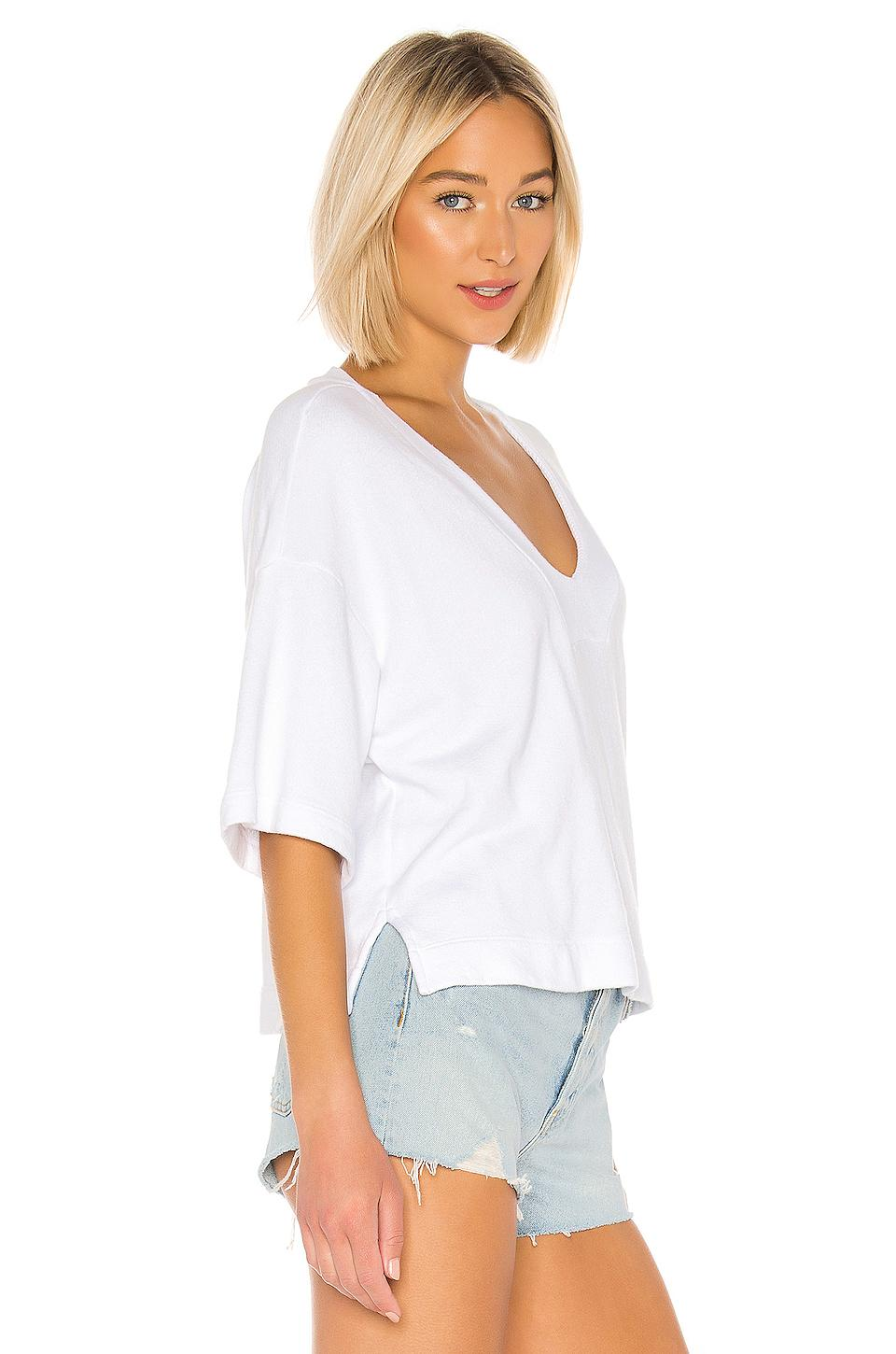 Enza Costa Womens French Terry Easy V-Neck Top
