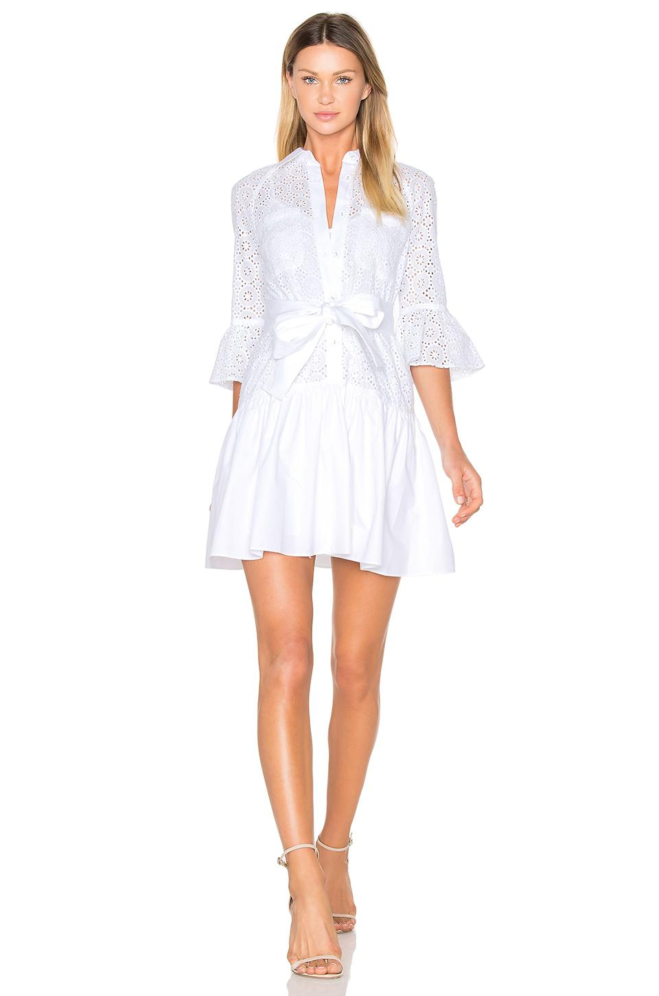 10 Crosby Derek Lam Button Down Ruffled Hem Shirt Dress In