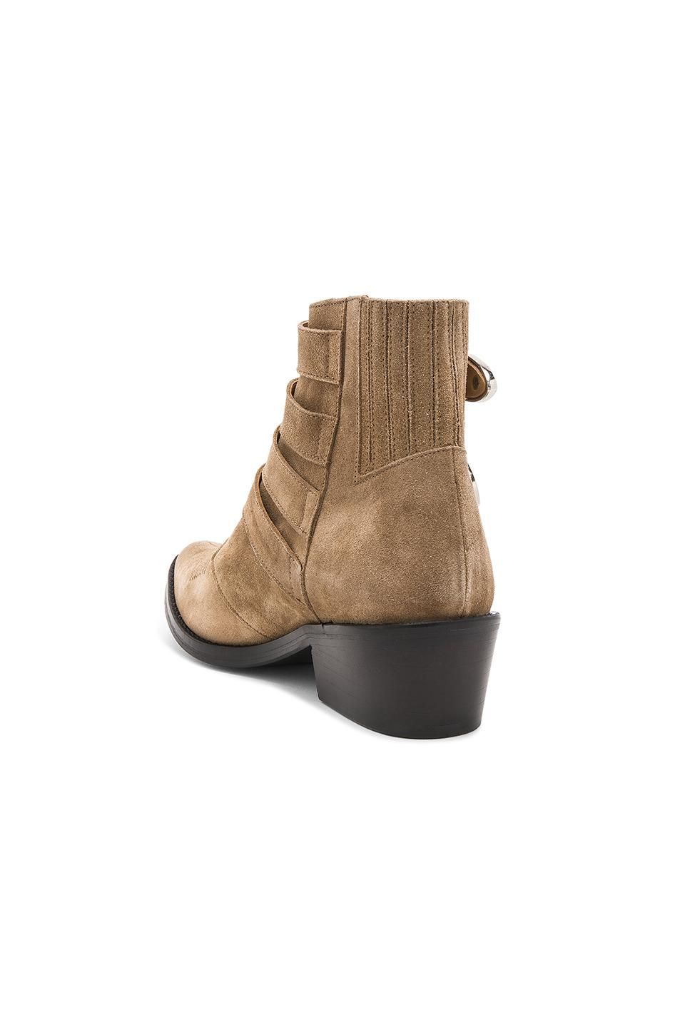 Toga Suede Western Buckle Bootie in Khaki Suede (Natural)