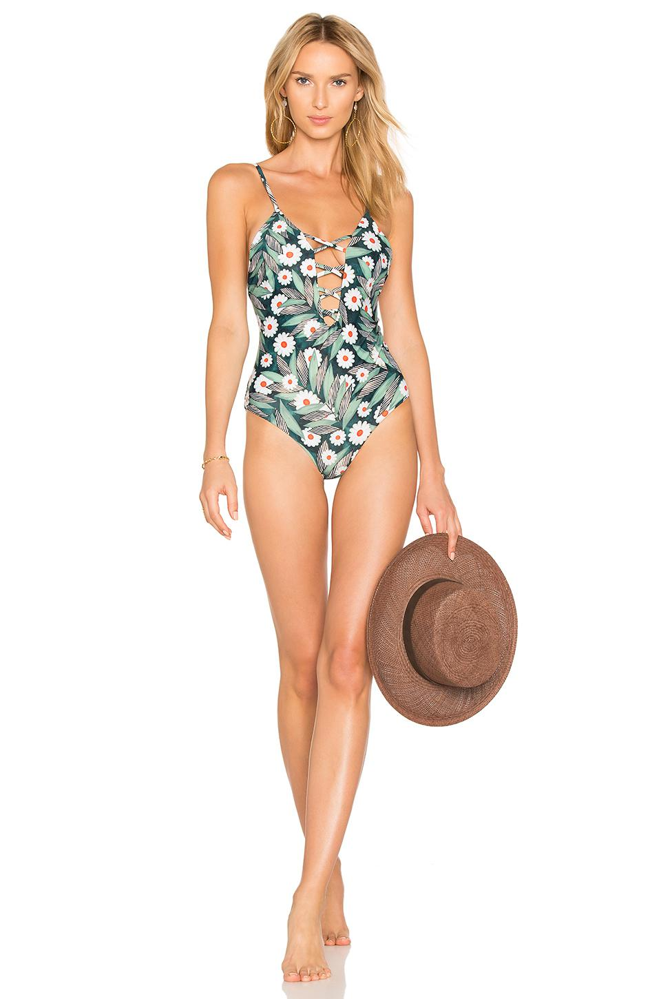 b5a30f088be Mara Hoffman Criss Cross Front One Piece in Green - Lyst