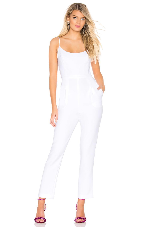 d1f86d7b8772 Lyst - BCBGMAXAZRIA Woven Jumpsuit in White