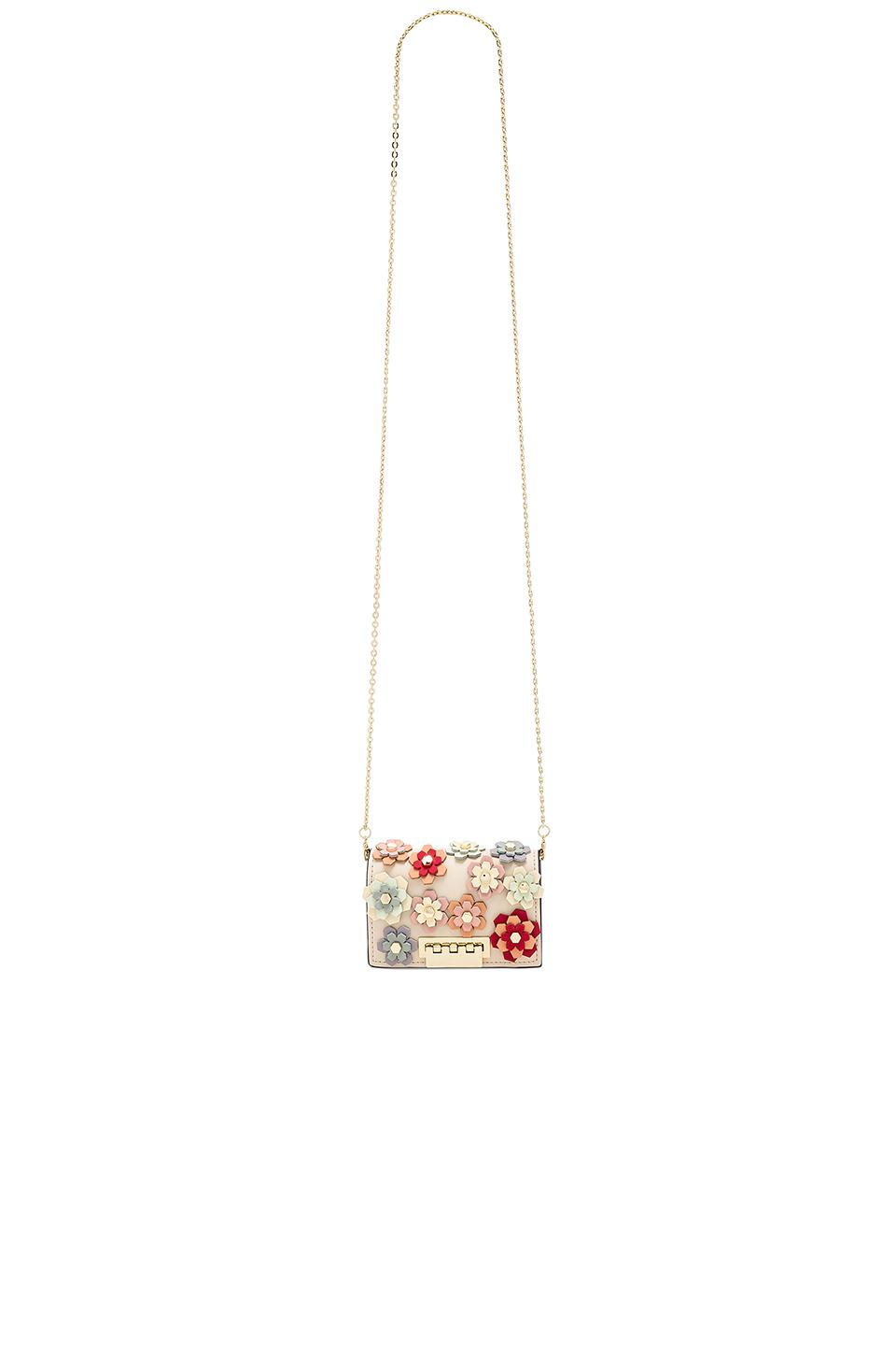 Zac Zac Posen Leather Earthette Card Case Crossbody In White.