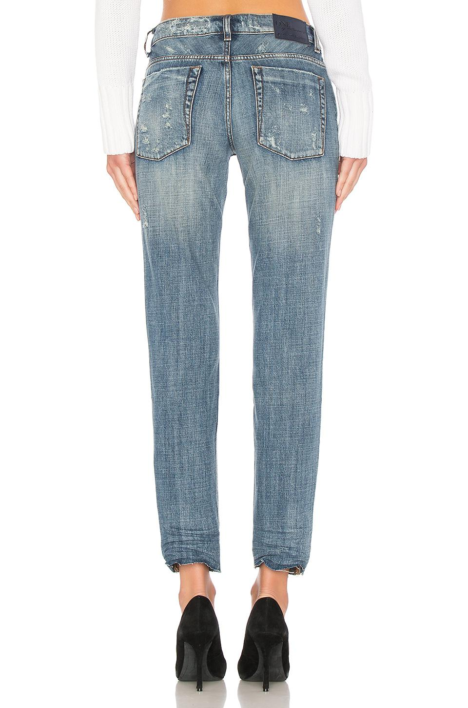 One Teaspoon Cotton Awesome Baggies Straight Leg Jean in Blue Suede (Blue)