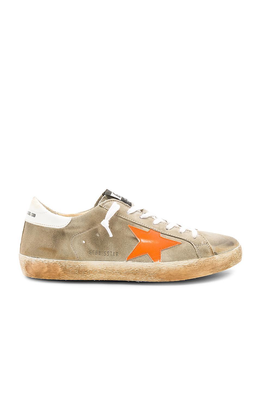 Golden Goose Deluxe Brand Suede Superstar Sneakers in Light Grey & White & Orange (Grey)