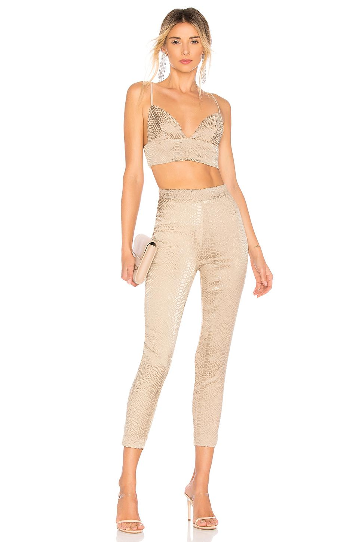 Pantalón cintura alta snakeskin superdown de Tejido sintético de color Neutro