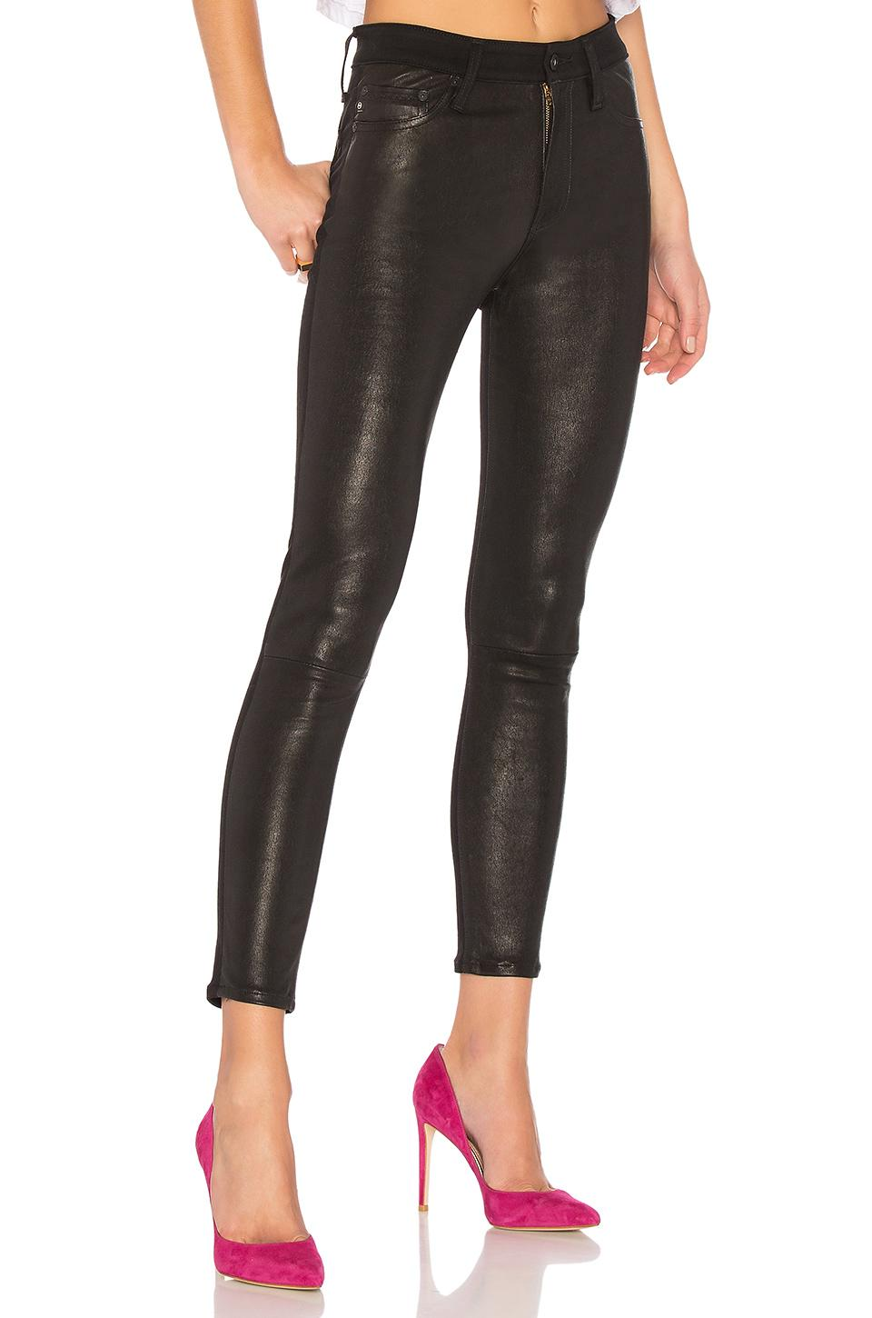 AG Jeans Farrah Leather Skinny Ankle. Size 26. in Black