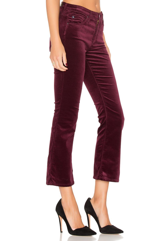 Lyst Ag Jeans Jodi Velvet Crop In Red