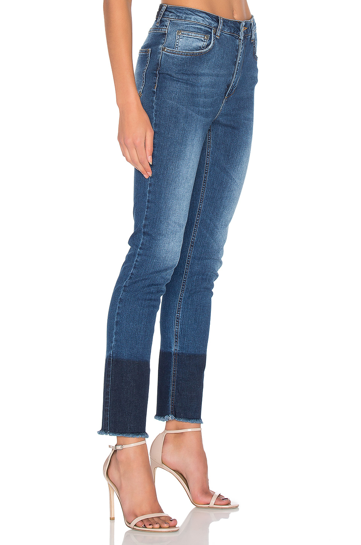 Anine Bing Denim Jeans With Hem Detail in Blue