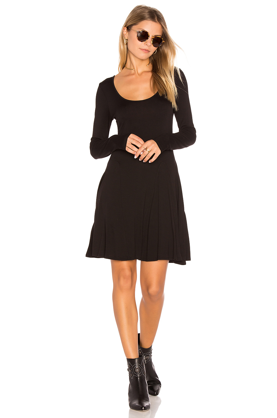 Bcbgeneration Synthetic Casual Fit Amp Flare Dress In Black