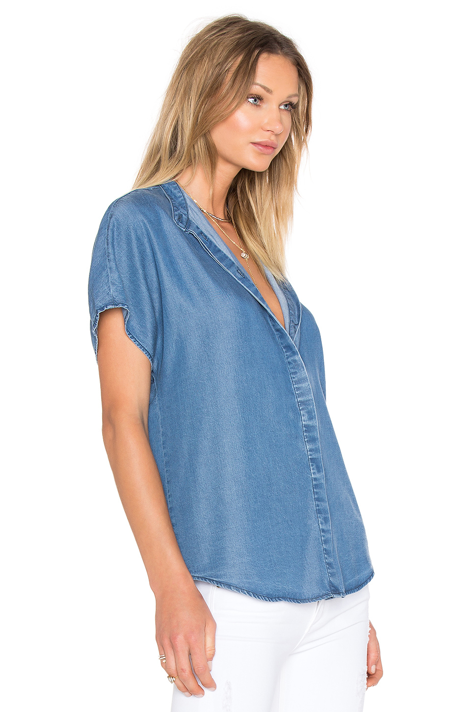 Kendall + Kylie Chambray Top In Blue