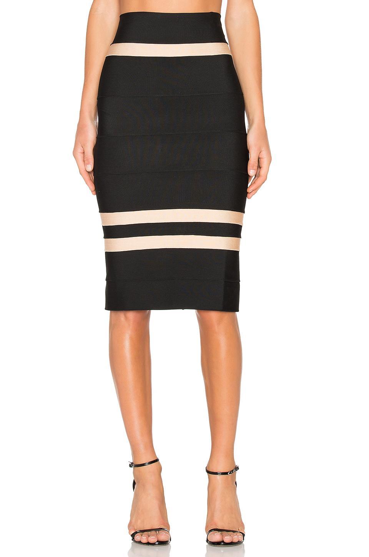 lolitta clara fitted midi skirt in black lyst