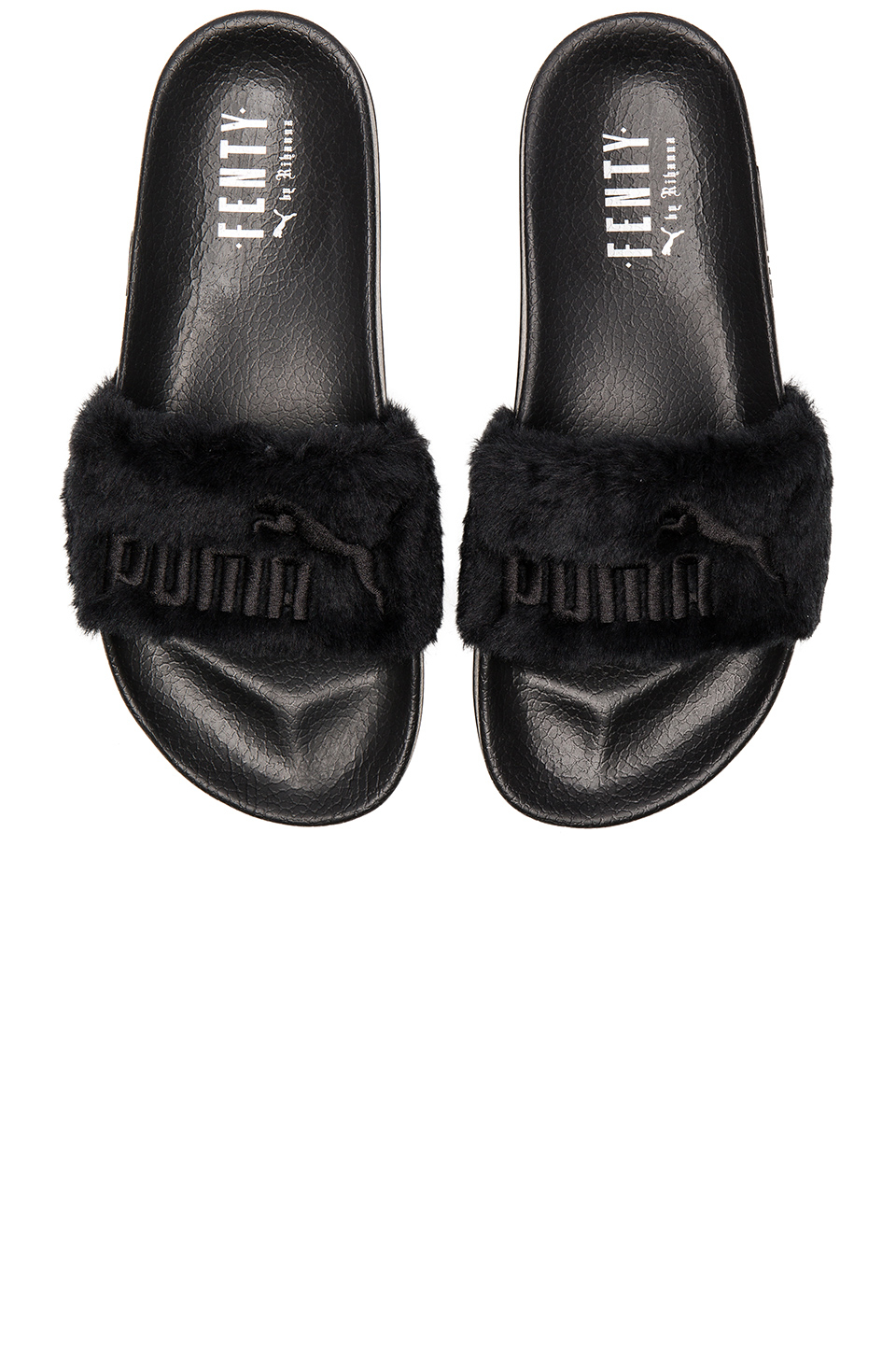 puma fenty leadcat faux fur slide sandals in black lyst. Black Bedroom Furniture Sets. Home Design Ideas
