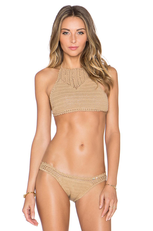 She made me Crochet Halter Bikini Top in Natural
