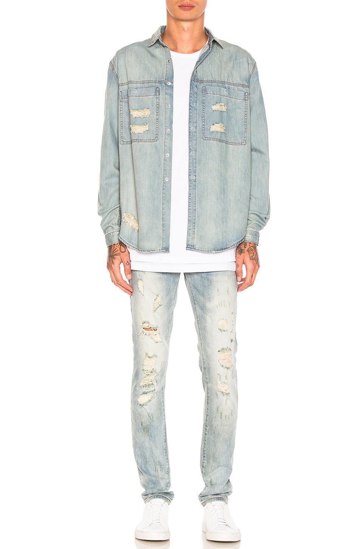Stampd Denim Distressed Skinny Jeans in Light Indigo (Blue) for Men