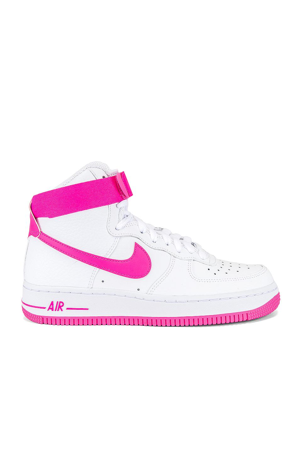 revisión camino Saco  Nike Leather Women's Air Force 1 Hi Sneaker in White & Hot Pink (Pink) -  Lyst