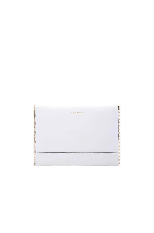 Rebecca Minkoff Leather Leo Clutch in White (Blue)