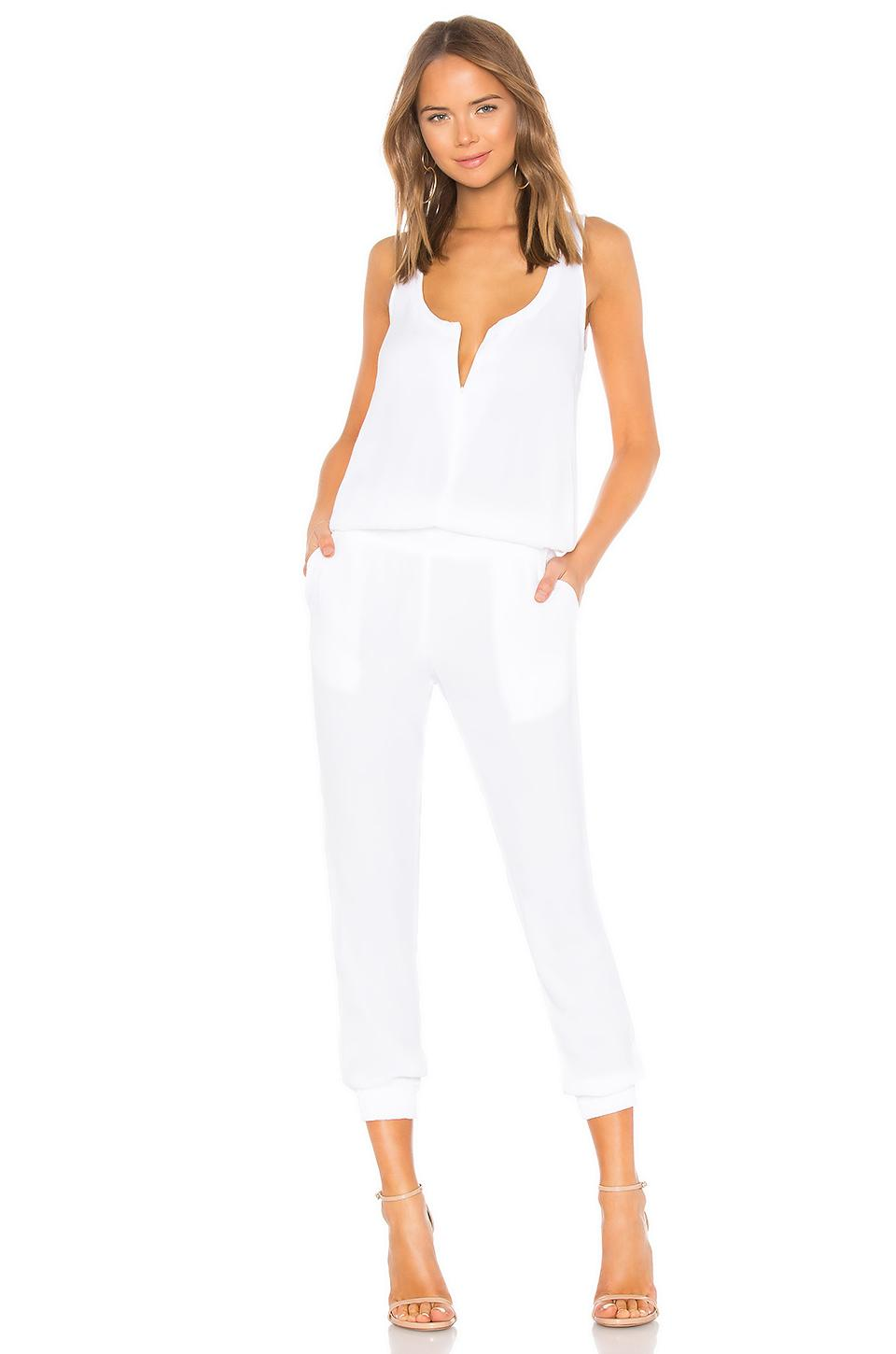 c6e779dbc2d Lyst - Monrow Crepe Jumpsuit in White - Save 14%