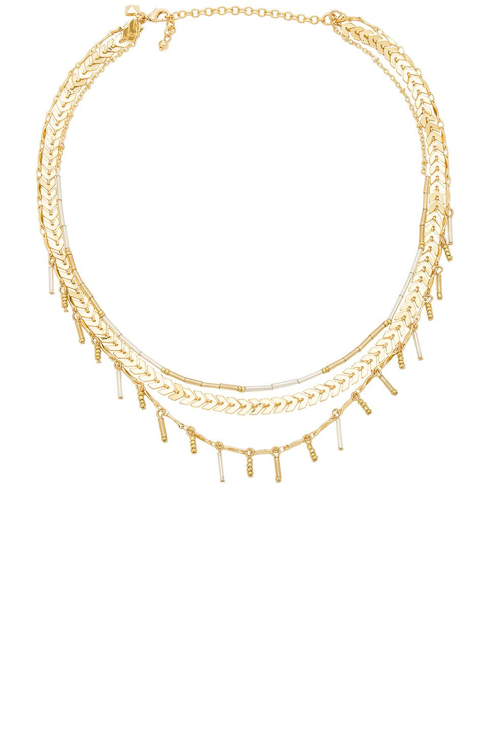Circle & Bar Layered Necklace in Metallic Gold Rebecca Minkoff