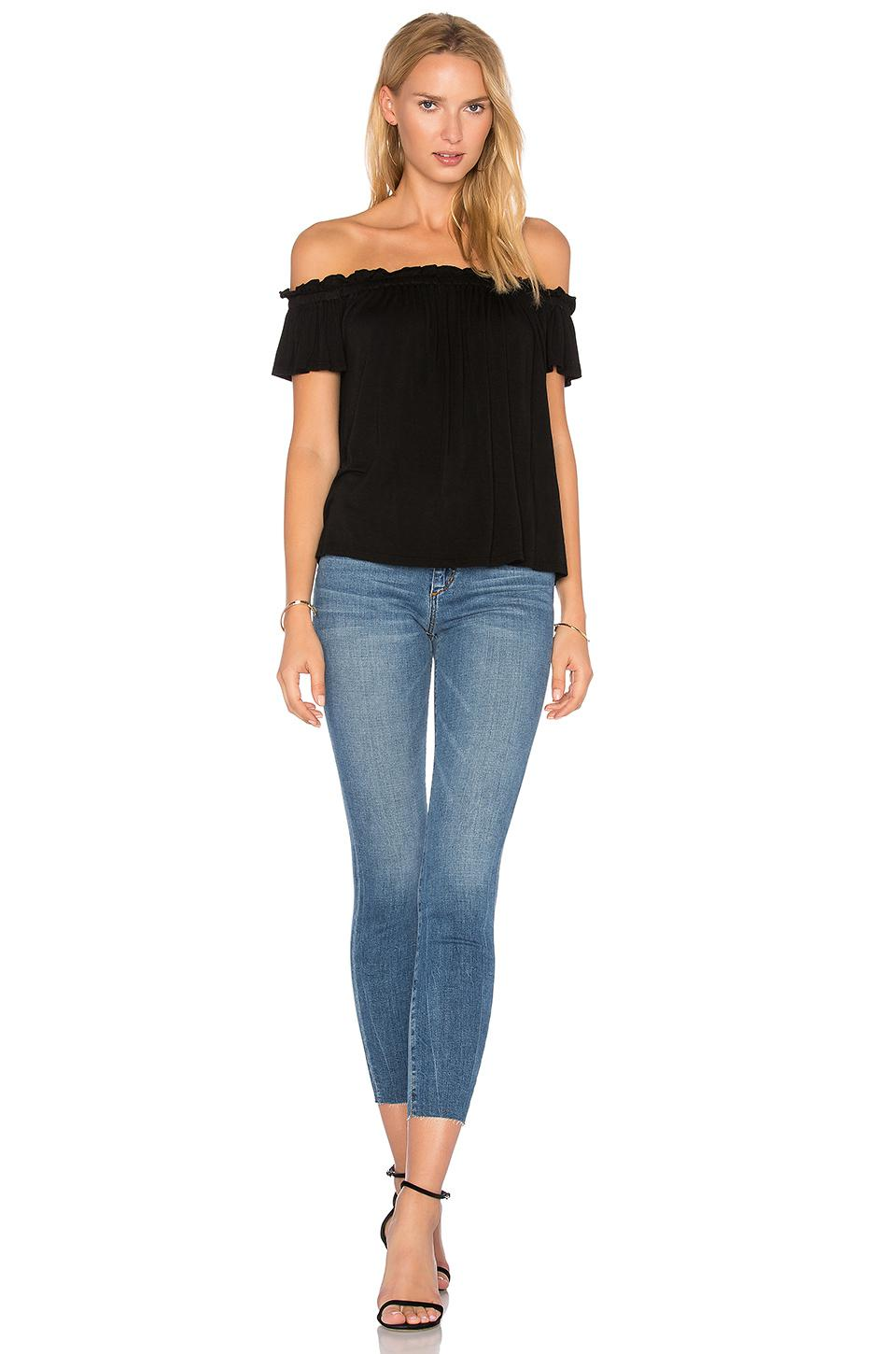 NYTT Synthetic Off Shoulder Ruffle Top in Black