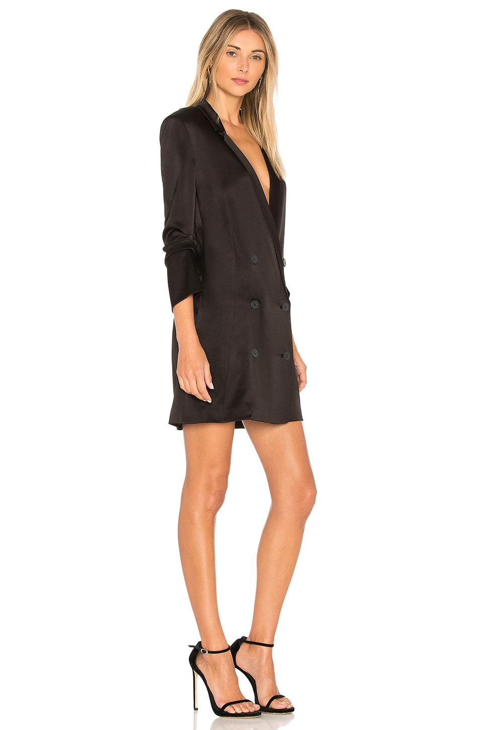 5609a392747e Halston Double Breasted Satin Shirtdress in Black - Lyst