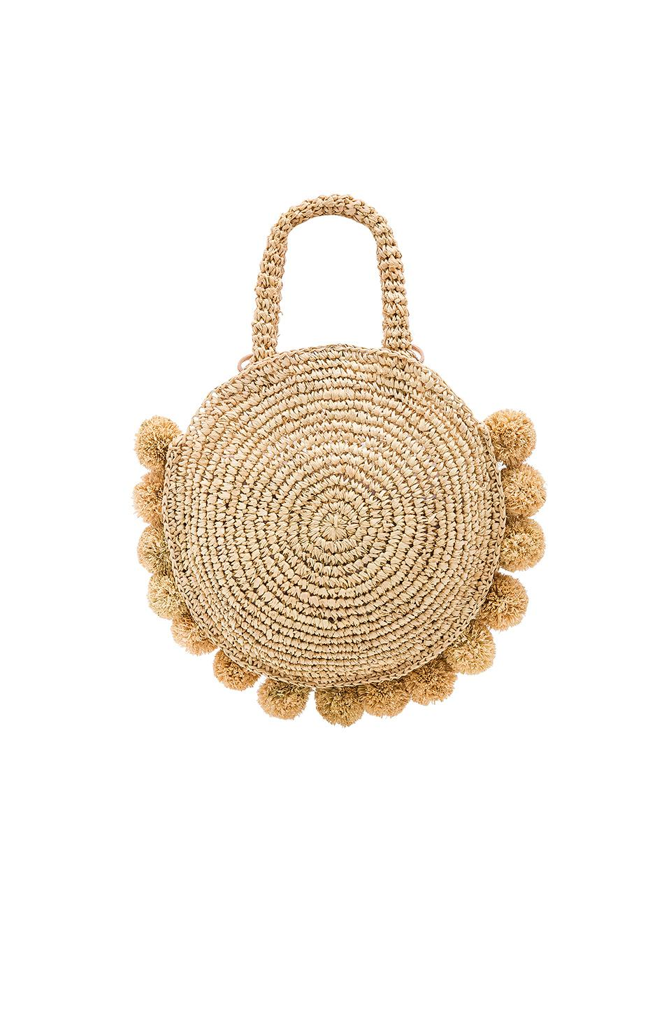 Loeffler Randall Leather Straw Circle Tote in Natural
