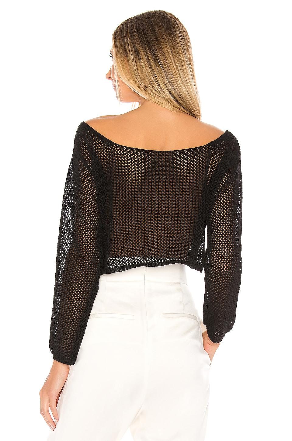 Top Cropped Maille Crochet Abby superdown en coloris Noir