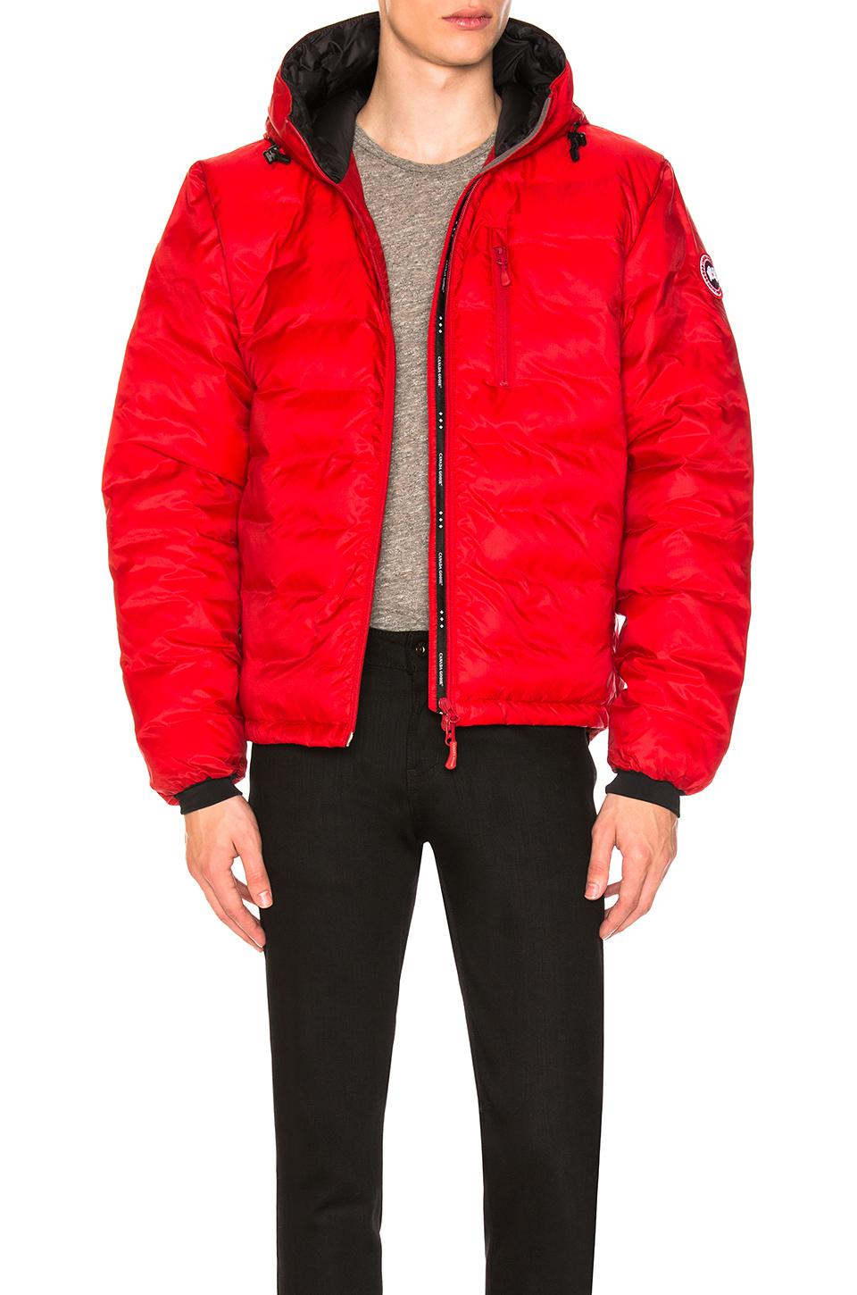 lyst canada goose lodge down hoody in red for men rh lyst com